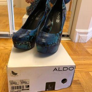 Blue snakeskin Aldo wedges